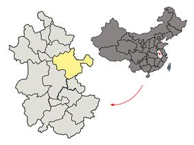 Location of Chuzhou City jurisdiction in Anhui