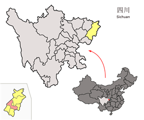 Location of Dachuan District (red) in Dazhou City (yellow) and Sichuan