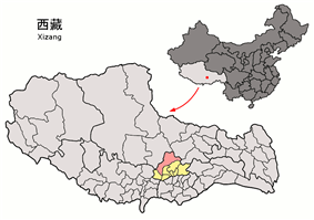 Location of Damxung County within Tibet