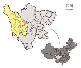 Location of Danba County (red) within Garzê Prefecture (yellow) and Sichuan.