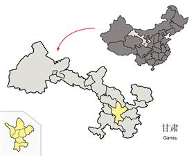 Location of Dingxi City jurisdiction in Gansu