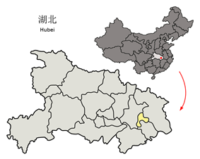 Location in Hubei and the PRC