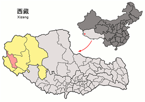 Location of Gar County within Tibet