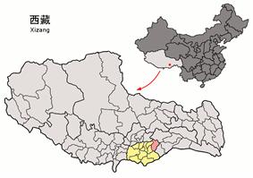 Location of Gyaca County within Tibet