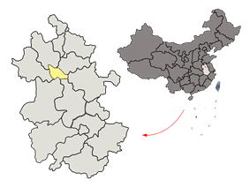 Location of Huainan City jurisdiction in Anhui