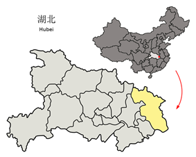 Location of Huanggang City jurisdiction in Hubei
