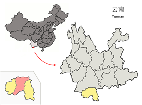 Location of Jinghong City (pink) within Xishuangbanna Prefecture (yellow) and Yunnan
