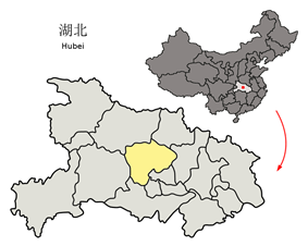 Location of Jingmen City in Hubei and the PRC