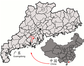 Location of Kaiping City (pink) in Jiangmen City (yellow), Guangdong province, and the PRC