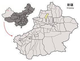 Location of Karamay City jurisdiction in Xinjiang