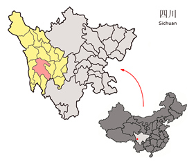 Litang County (red) in Garzê Prefecture (yellow) and Sichuan
