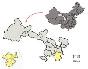 Location of Longnan City jurisdiction in Gansu