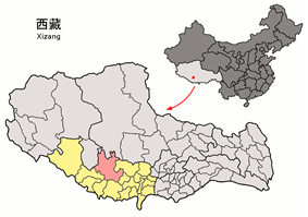 Location of Ngamring County within Tibet