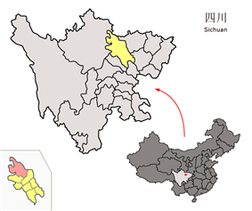 Location of Pingwu within Mianyang, Sichuan