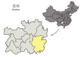Location of Qiandongnan Prefecture in Guizhou