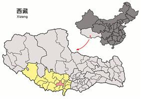 Location of Sa'gya County within Tibet