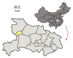 Location of Shennongjia within China and within Hubei