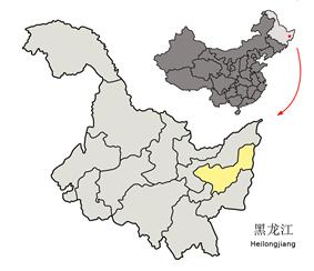 Location of Shuangyashan City in Heilongjiang