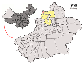 Location of Tacheng City (pink) in Tacheng Prefecture (yellow) and Xinjiang