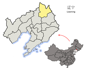 Location of Teiling City jurisdiction in Liaoning