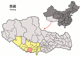 Location of Tingri County within Tibet