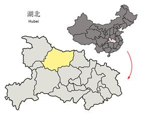 Location of Xiangyang City jurisdiction in Hubei
