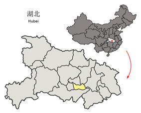 Location of Xiantao City jurisdiction in Hubei