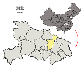 Location of Xiaogan City in Hubei and the PRC