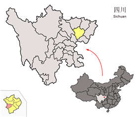 Location of Xichong County (Orange) within Nangchong City (Yellow)