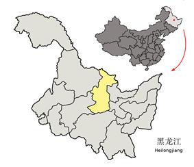 Location of Yichun City in Heilongjiang
