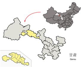 Location of Zhangye City jurisdiction in Gansu