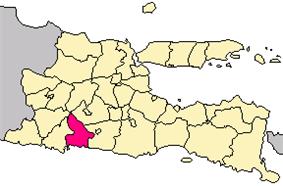 Location of Tulungagung, East Java, Indonesia