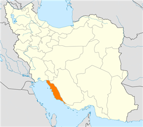 Map of Iran with Bushehr highlighted