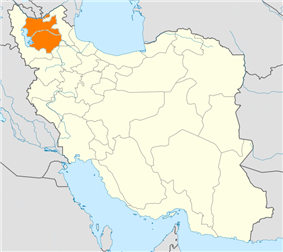 Map of Iran with East Azerbaijan highlighted