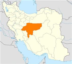 Map of Iran with Esfahan highlighted