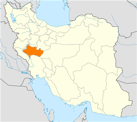 Map of Iran with Lorestan highlighted