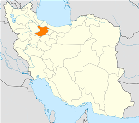 Map of Iran with Qazvin highlighted