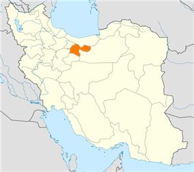 Map of Iran with Tehran highlighted