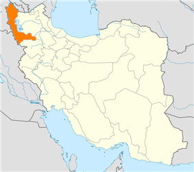 Map of Iran with West Azerbaijan highlighted