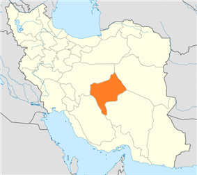 Map of Iran with Yazd highlighted