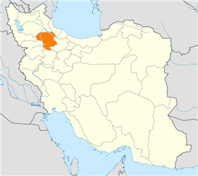 Map of Iran with Zanjan highlighted