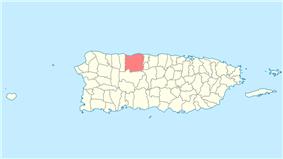 Location of Arecibo within Puerto Rico.