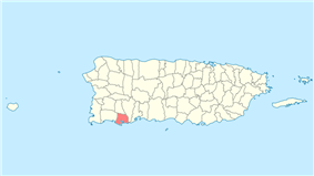 Location of Guánica in Puerto Rico