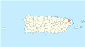 Location of Luquillo in Puerto Rico