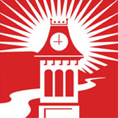 The school's logo shows the historic Old Main clock tower with the Monongahela River in the background