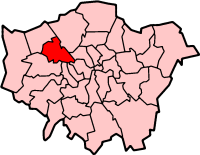 Location of the London Borough of Brent in Greater London