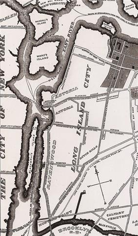 Detail of 1896 map of Long Island City, from the Greater Astoria Historical Society