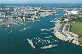 Aerial view of the harbour of Lorient