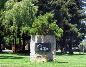 A City of Los Altos entrance marker, located in Lincoln Park just off of Main Street