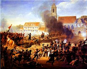 French troops storming the bridge at the Battle of Landshut